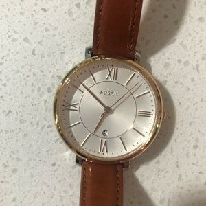 Jacqueline cedar leather watch - fossil